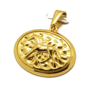 Olivia Vintage Style Men Jewelry 18k Stainless Steel Round Native American Horse Pendant 18k Gold