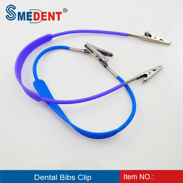 One Piece Coil Plastic Dental Patient Bib Clips Chains Napkin Holder Blue Dentist Tools Dental Materials Moderate Cost Teeth Whitening