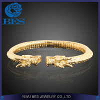 Fashion Custom Metal Jewelry 18K Gold Plating Dragon Head Cuff Bangle for Men