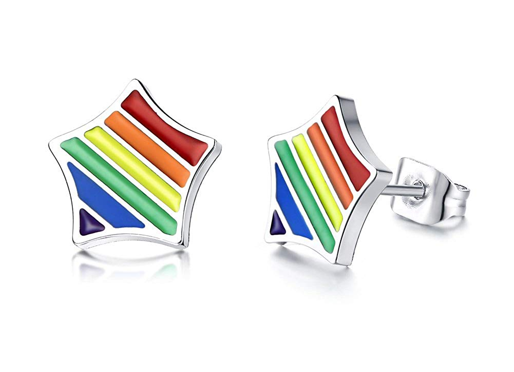e516b5f86 Get Quotations · PJ Gay Pride Lesbian LGBT Equality Star Rainbow Stud  Earrings in Stainless Steel,Rainbow Jewelry