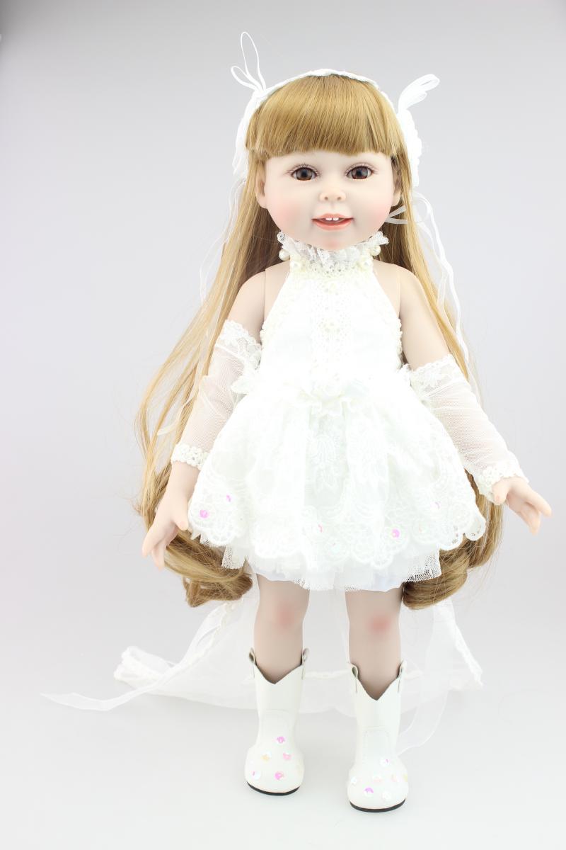 18 45CM American princess dressing bride doll for girls wedding gift Full vinyl girl dolls kids