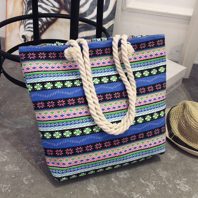 암 Summer Women Canvas Bohemian Style 스트립 Beach 캐주얼 Tote 큰 쇼핑 꽃 Messenger Bags