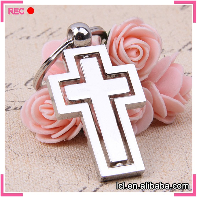2016 new design wholesale key chain rotatable cross metal key chain shiny split key ring clip enamel key holder