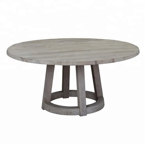 Modern french classic furniture recycled pine antique furniture rustic round vintage dining table wooden classic dining table