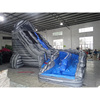 Gray marble Curve dual lanes inflatable Water Slide For Sale