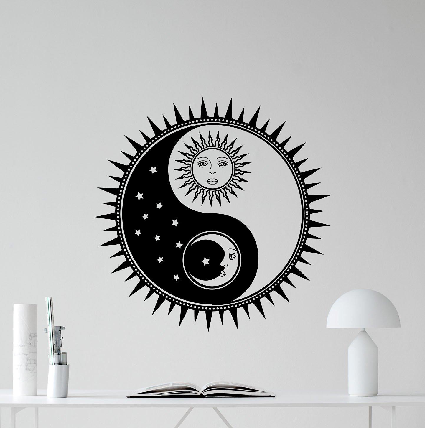 Buy Sun And Moon Yin Yang Wall Decal Sun Stars Vinyl