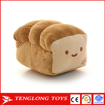 Custom Cute Smile Face Food Shaped Cushion Home Decorative Bread Pillow