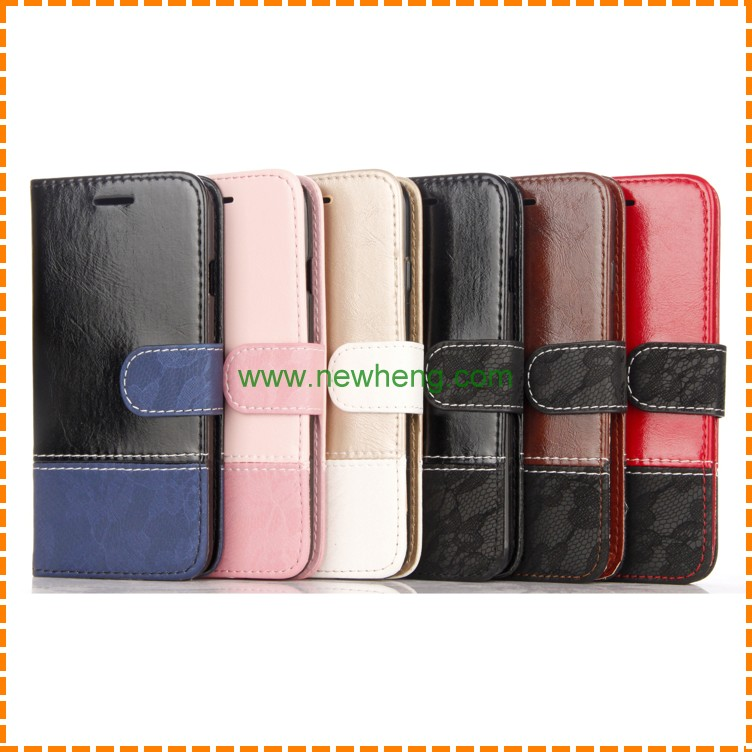 Wholesales Stitching pu Leather Lace pattern stand flip wallet case for iphone 7 plus