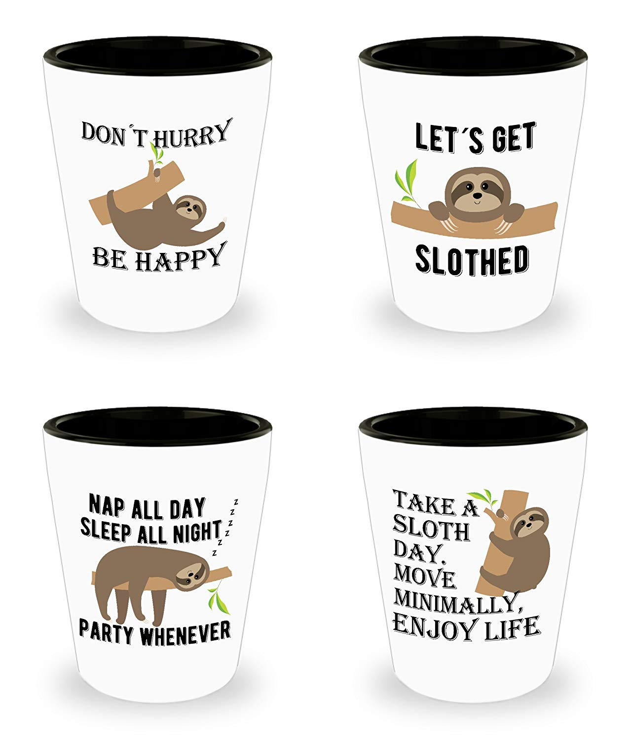 Get Quotations · Sloth Gift – Funny Shot Glasses – Set of 4 - Gifts for Sloth Lovers -