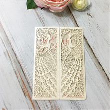 Luxury Style and Paper Material peacock laser cut indian wedding invitation cards
