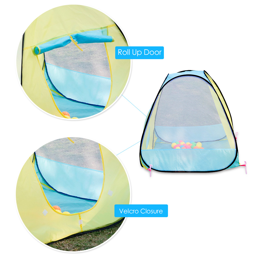 Baby Play Tent Pop-up Bright Color Indoor Outdoor Portable kid Children Cubby Playhouse With Marine Balls
