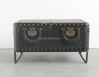 Leather Coffee Table Leather Trunk Antique Table Tea Table Trunk
