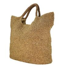 Women Summer Beach Bags Fashion Strip Straw Bags Lady Woven Beach Handbags Shoulder Bag