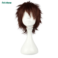 New style 10inch brown men cosplay wigs with rose lace net for wholesale