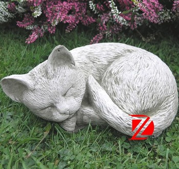 Sleeping Granite Cat Garden Sculpture