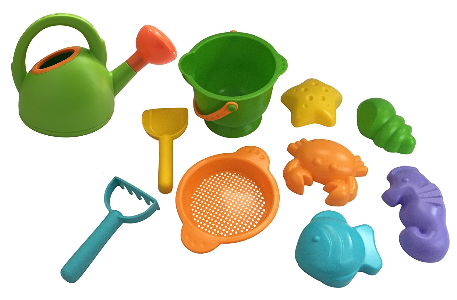 Durable Kids Sand Castle Creation Building Kit with Bucket, Shovels, Watering Can, and 5 Sand Molds