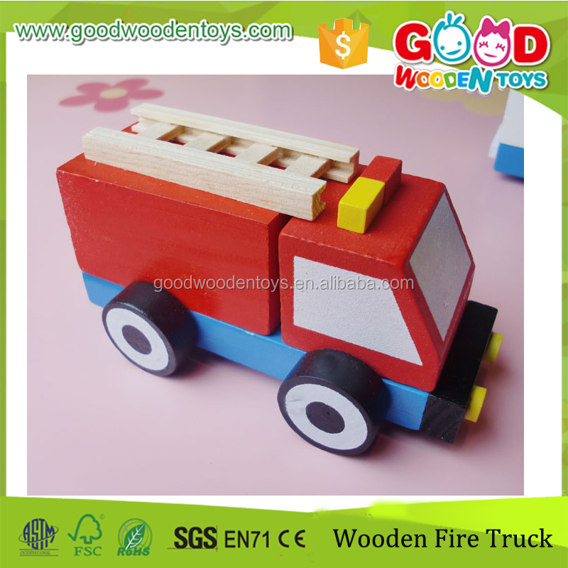 ASTM Certified Good Wooden Toys Small Size Solid Wood Mini Truck for Firemen