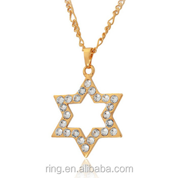 Gold star of david pendant necklace rhinestone jewish jewelry davis gold star of david pendant necklace rhinestone jewish jewelry davis star israel necklace wholesale aloadofball Image collections