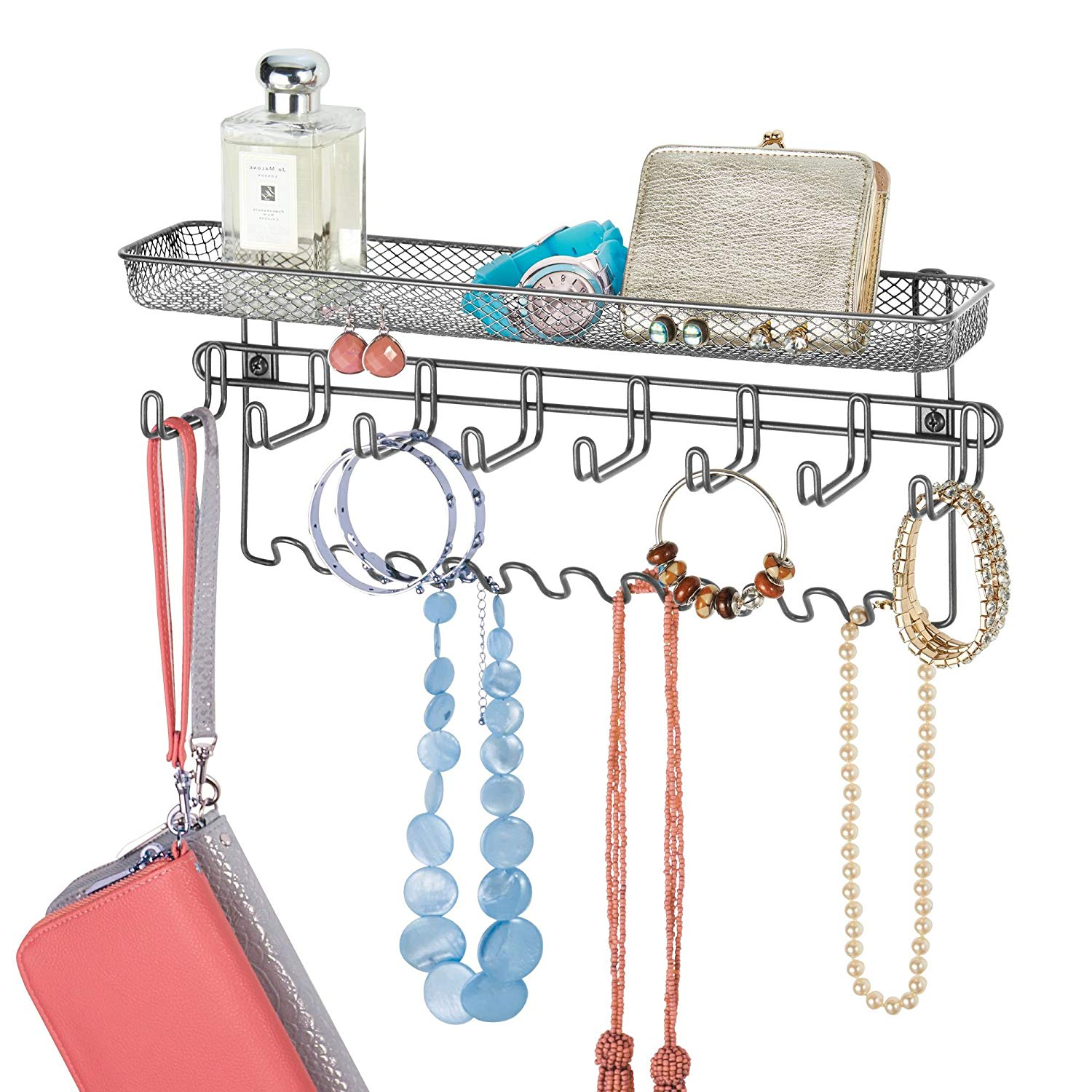 Get Quotations Mdesign Decorative Metal Closet Wall Mount Jewelry Accessory Organizer For Storage Of Necklaces Bracelets