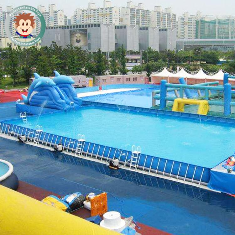 Große Außen Kunststoff Aufblasbare Oberirdische Stahlrahmen Schwimmbad Für  Erwachsene Und Kinder Wasserpark Metall Schwimmen Pool Für