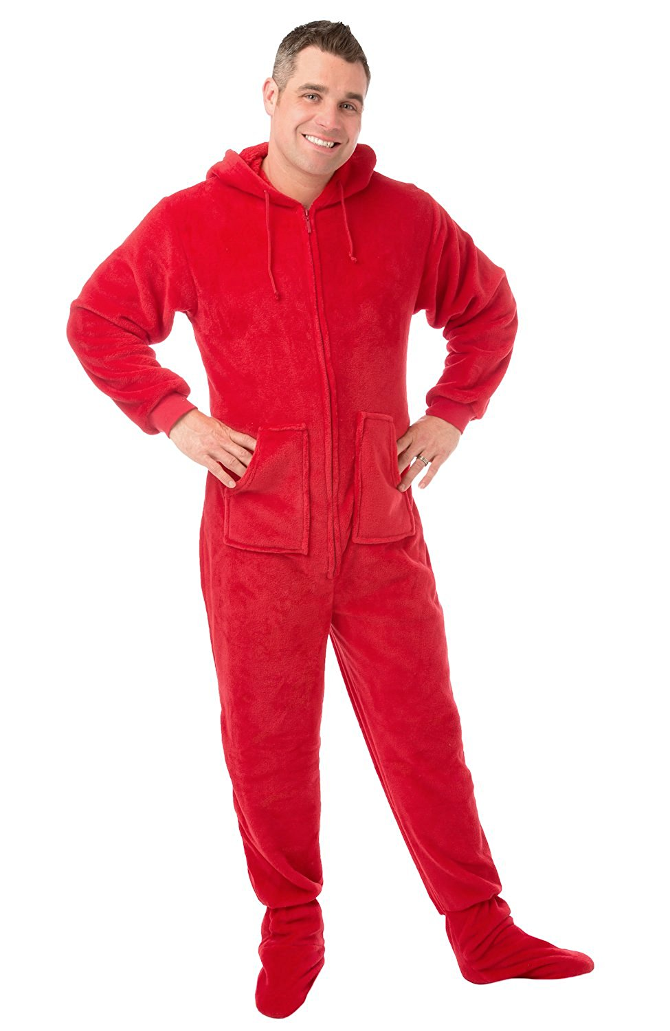 62f1853c7d Get Quotations · Big Feet Pjs Red Plush Onesie Adult Footed Pajamas with  Hood