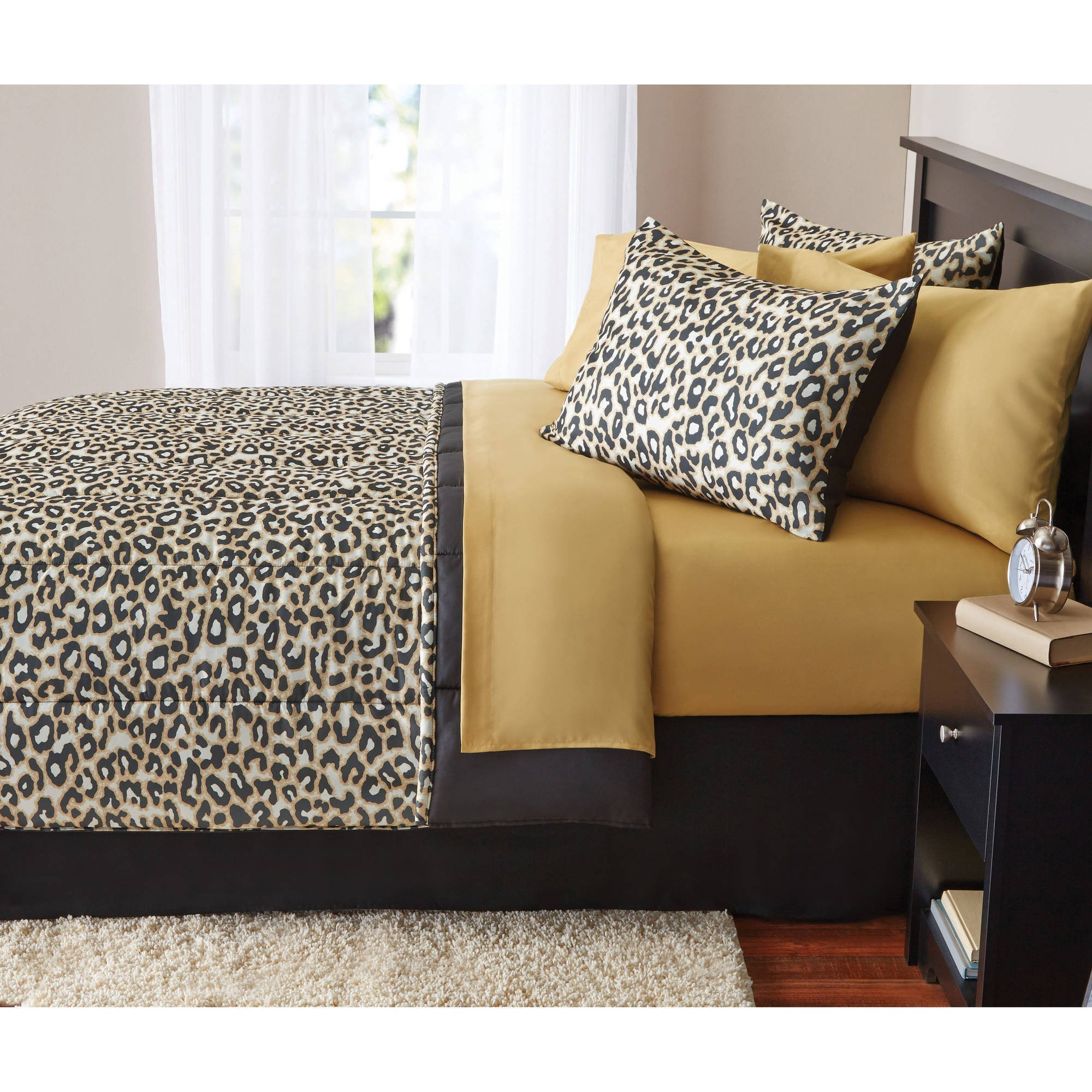 8 Piece Kids Brown Cheetah Pattern Comforter Full Set, Elegant All Over Exotic Jungle Zoo African Safari Wild Animals Featuring Tiger, Leopard Print, Luxurious Bedroom Bedding, Abstract Color