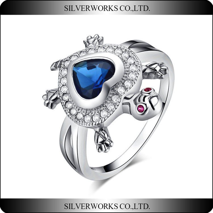2016 New design Heart Of Ocean love rings withTurtle shape silver jewelry