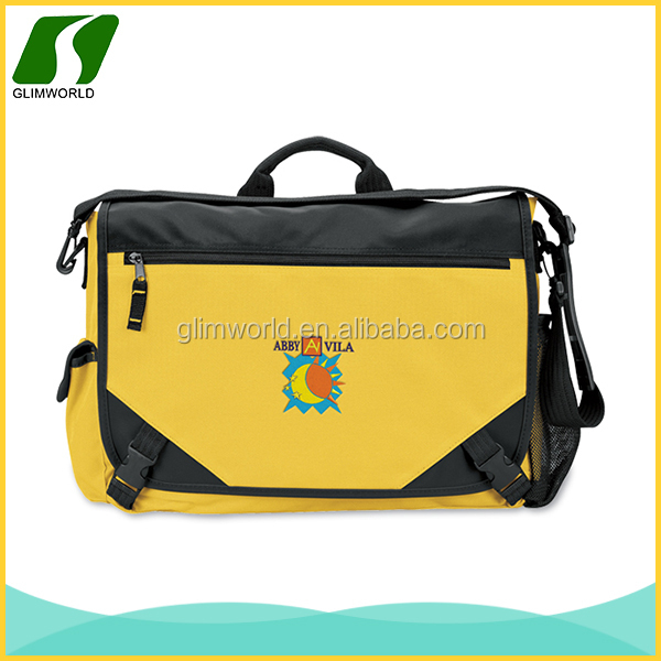 Fashion durable laptop leisure yellow canvas messenger bags with adjustable shoulder strap
