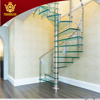 Modern Stylish Tempered Glass Steps Stainless Steel Frame Spiral Stairs  Curved Staircase For Villa   Buy Spiral Staircase,Glass Staircase,Curved ...
