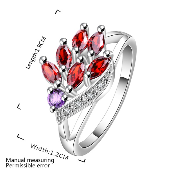 Tryme Exquisite Beautiful Red Crystal Leaf Rings silver plated Fashion Jewelry Hot sales Romantic Christmas Gifts Free shipping