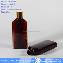 300ml amber fat oval cosmetic pet bottles