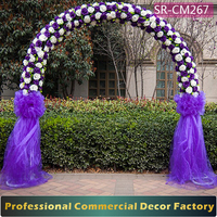 Custom 2.5m foldable wedding purple flower arch decoration in stock