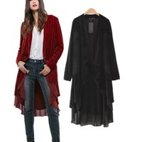 Z91890A 2016 Fall New fashion Long Trench Coat for women Casual cloak Ladies Long Sleeve Outerwear Coat