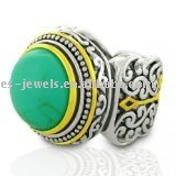 Inspired Gold Plated Two-Tone Turquoise Vintage metal ring