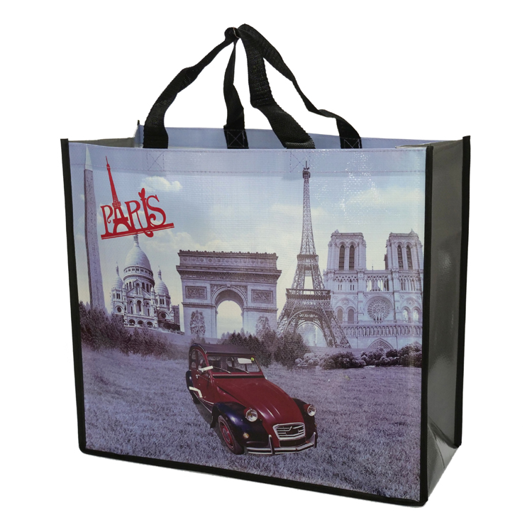 Eco Friendly Strong Reusable Laminated Recycled Grocery Shopper Tote Gift Bag Waterproof Beach Bag