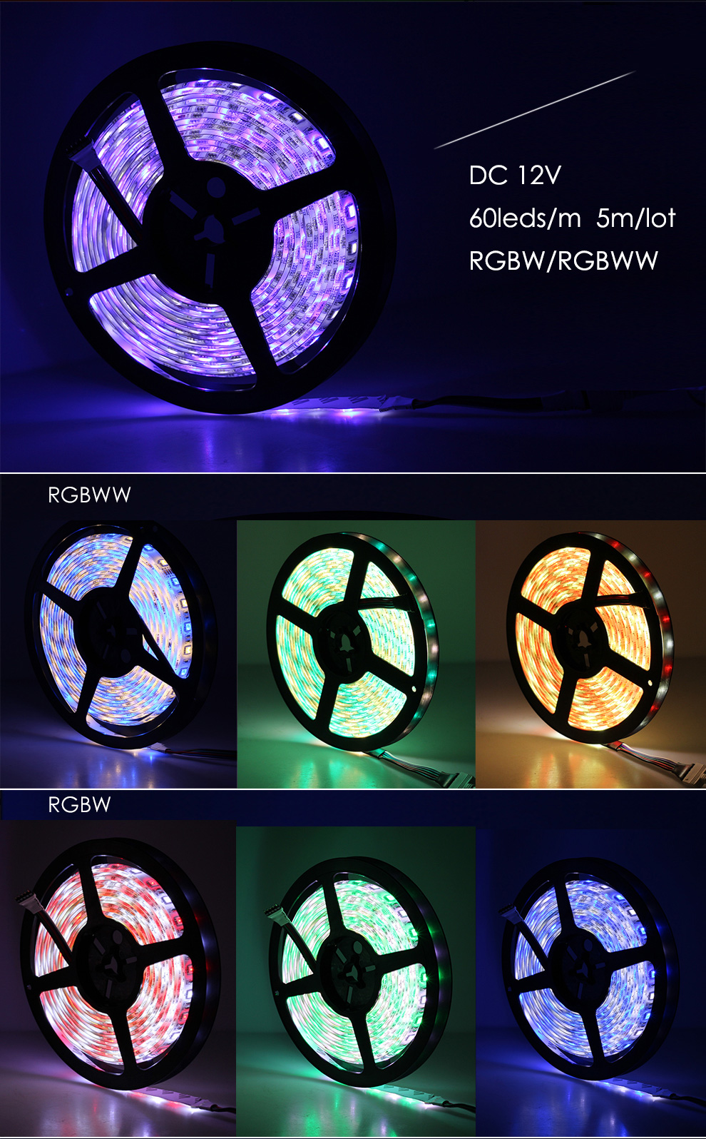 Multi Color + White LEDs Dual Row 5050SMD RGBW LED Light Strips