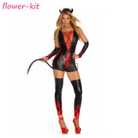 Sexy leather hot red black devil carnival costume, deep v neck sexy women fantasy costume halloween