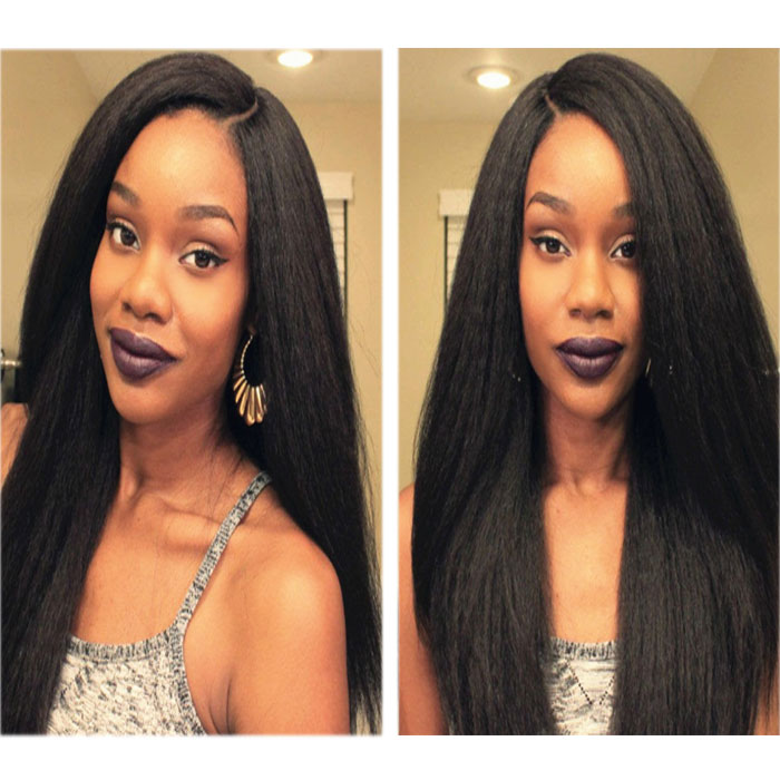 New Styles Silk Base Human Hair Full Lace Wigs Yaki Straight Afro Hair For Women