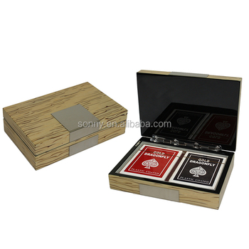 Two Decks Playing Card Set With Ice Burl Wooden Storage Box
