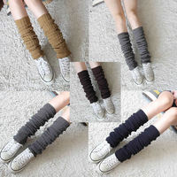 Women Winter Crochet Knit Stocking Stripe Leg Warmer Socks