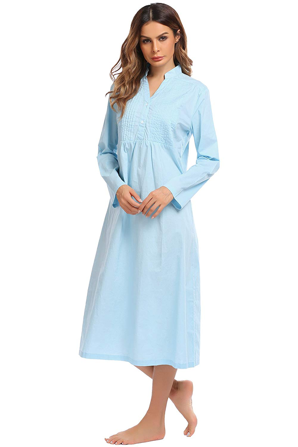 684057ce58 Get Quotations · Ekouaer Womens Cotton Victorian Nightgown Long Sleeve Vintage  Sleepwear(White