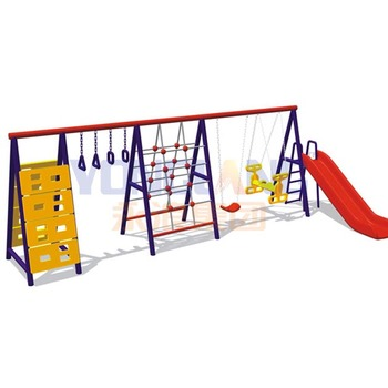 Outdoor simple cheap swing and slide set for sale