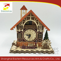 Wooden Christmas Led House with Alarm Clock
