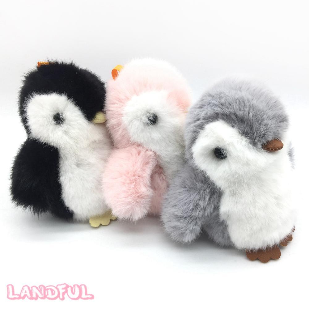 Plush Toys Product : Cute plush toys fluffy penguin pom car keychain