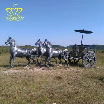 Outdoor Garden Decoration New Product Large Antique Bronze Horse Chariot Statue