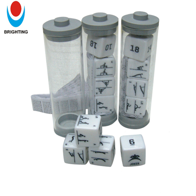 Promotional Dice Colored Plastic Printing Game Dice with Plastic Dice Tube