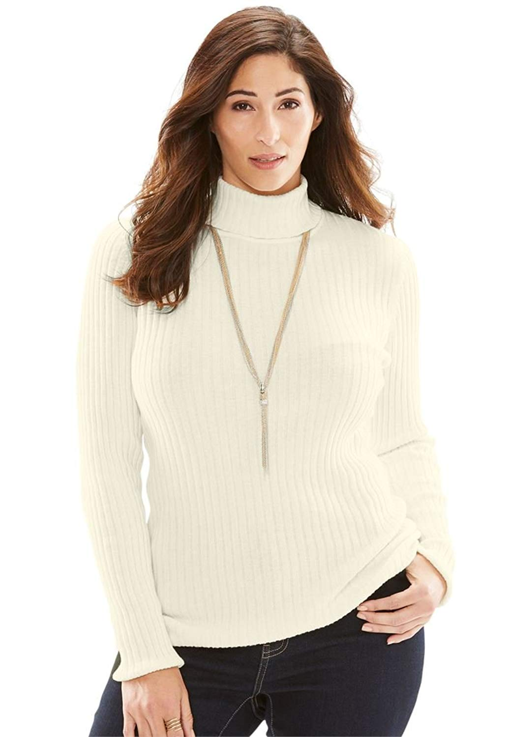 9564a62aa21 Get Quotations · Jessica London Women s Plus Size Turtleneck Sweater Ribbing