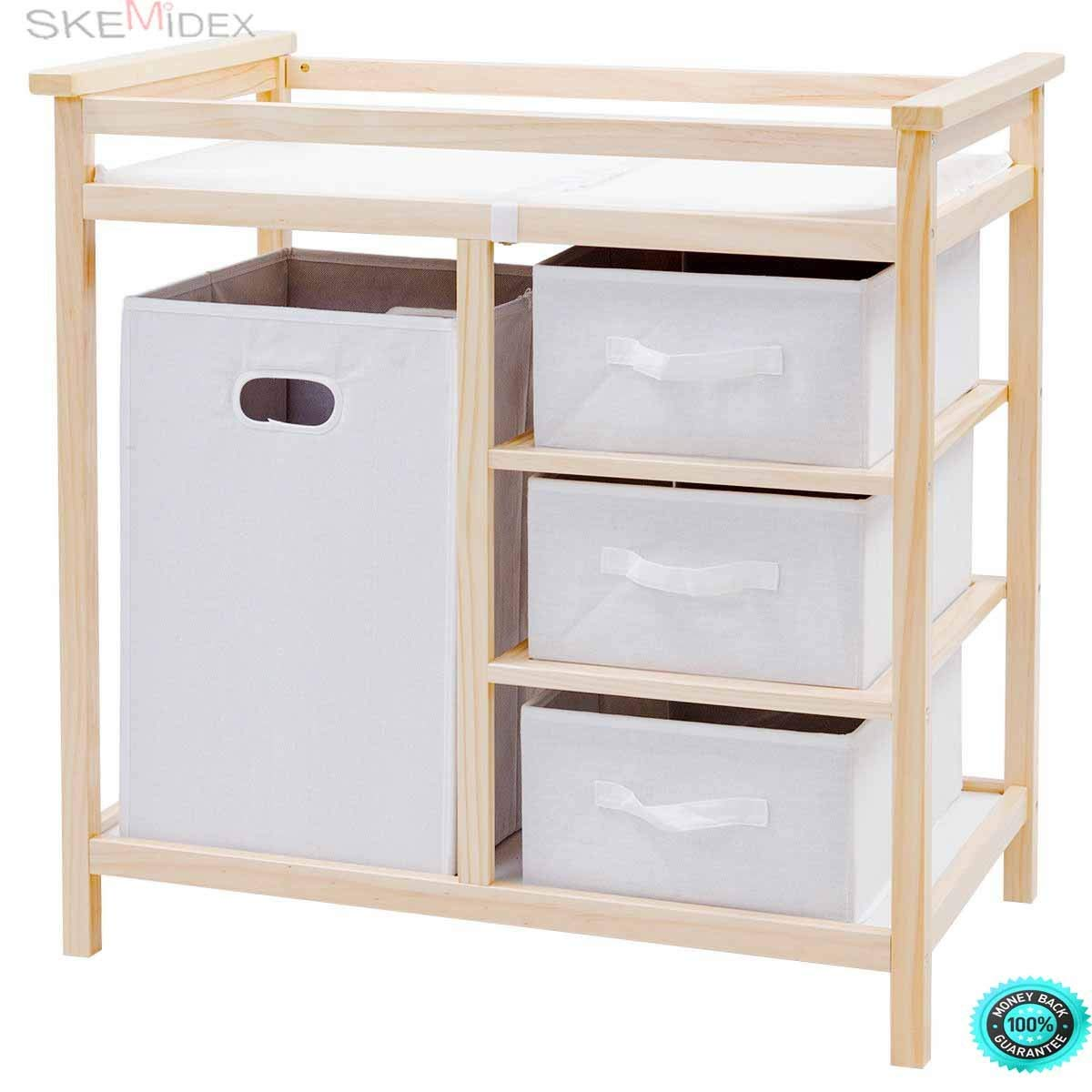 Get Quotations Skemidex Natural Infant Baby Changing Table W 3 Basket Hamper Diaper Storage