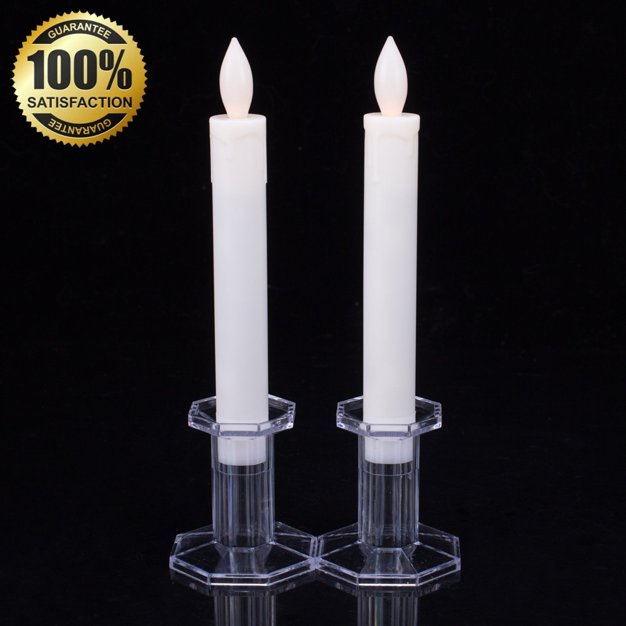 Get Quotations Set Of 2 9 Tall Led Flickering Flameless Taper Candles Ivory Table