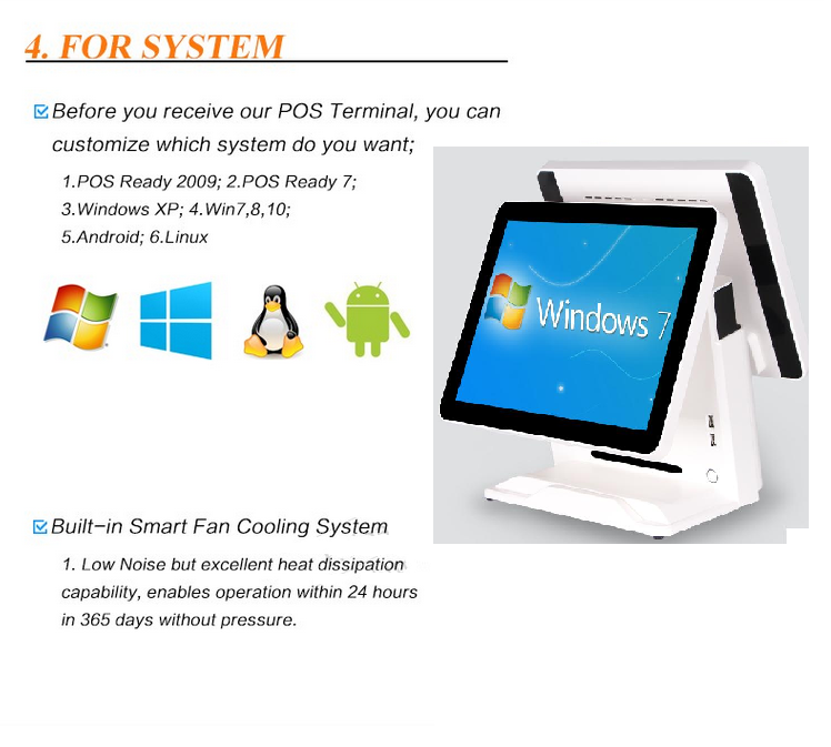 "15"" all in one touch screen computer pos machine for supermarket cashier equipment"